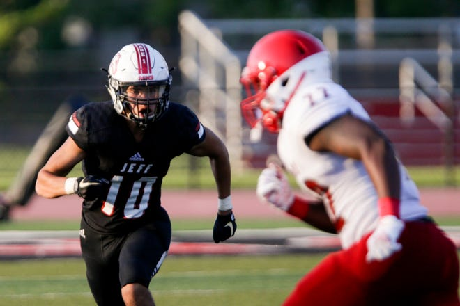 Lafayette Jeff's Xhavion Reese (10) during a scrimmage against Pike, Friday, Aug. 14, 2020 in Lafayette.