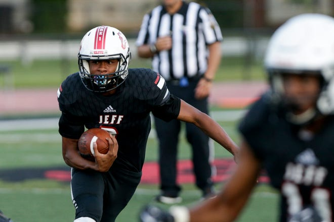 Lafayette Jeff's Glenn Patterson (2) runs the ball during a scrimmage against Pike, Friday, Aug. 14, 2020 in Lafayette.