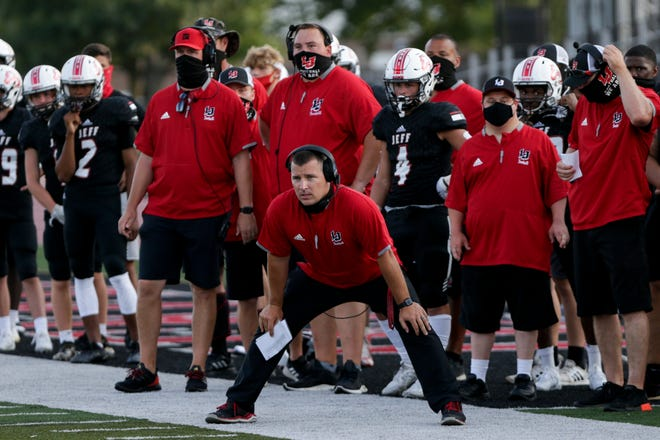 Lafayette Jeff head coach Pat Shanley during a scrimmage, Friday, Aug. 14, 2020 in Lafayette.