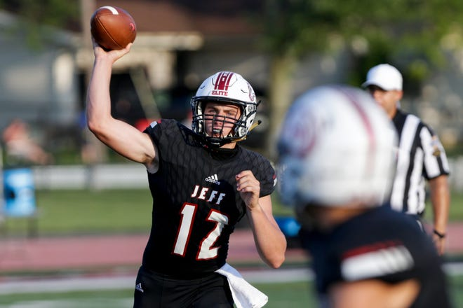 Lafayette Jeff quarterback Brady Preston (12) throws during a scrimmage against Pike, Friday, Aug. 14, 2020 in Lafayette.