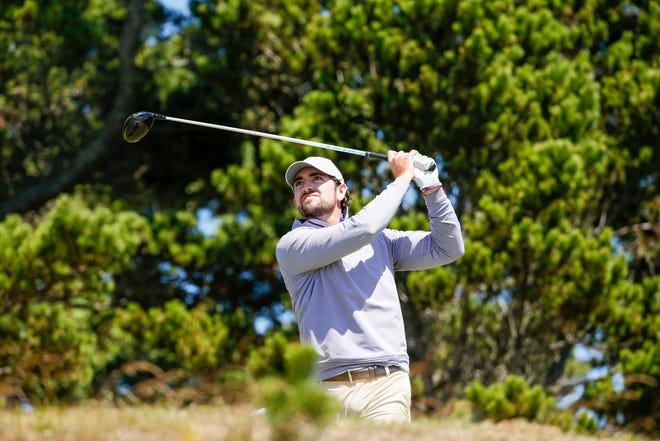 Philip Barbaree plays his tee shot at the third hole during the quarterfinal round at the 2020 U.S. Amateur at Bandon Dunes Golf Resort in Bandon, Ore. on Friday.