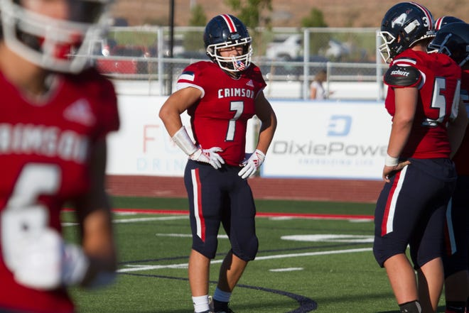 Crimson Cliffs' Creed Leonard (7) is taking on two new roles in 2020: running back and team leader.