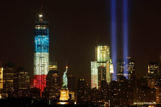 The 9-11 Tribute in Lights as seen from across the Hudson River in Bayonne New Jersey Sept. 12, 2012. ( Frank Becerra Jr / The Journal News )