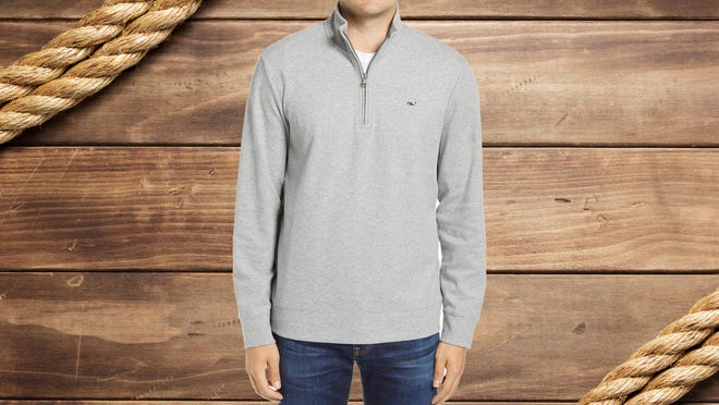 This quarter-zip pullover is the perfect transitional piece.