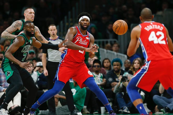 Sixers center Joel Embiid kicks the ball out to teammate Al Horford as the Celtics' Jaylen Brown and Daniel Theis, back left, defend during a February game.