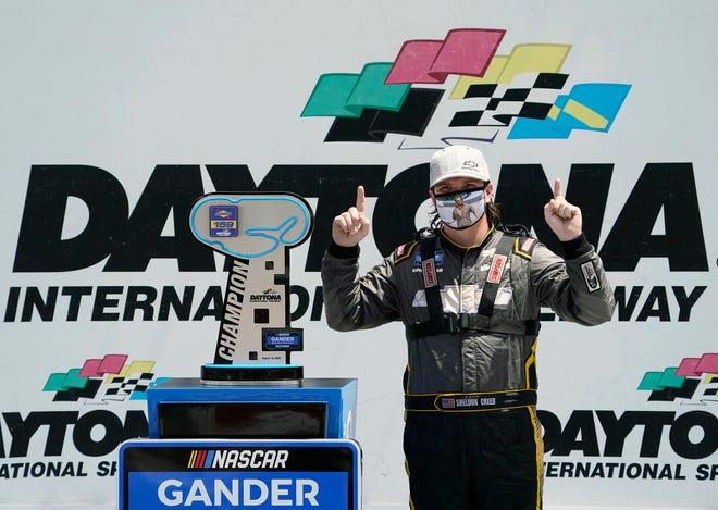 Sheldon Creed held off teammate Brett Moffitt to win the Sunoco 159 at Daytona on Sunday. [N-J/Nigel Cook]