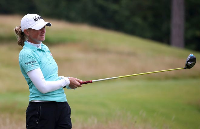 USA's Stacy Lewis watches her ball off the second tee during day two of the Ladies Scottish Open at The Renaissance Club in North Berwick, Scotland, on Friday.