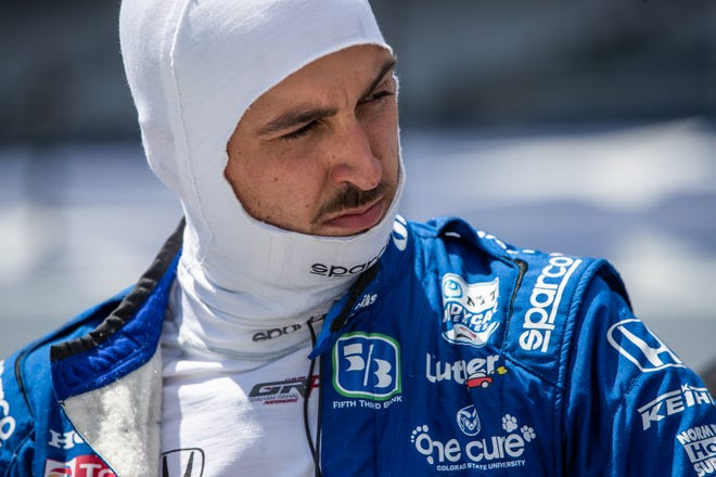 Rahal Letterman Lanigan Racing driver Graham Rahal (15) takes his helmet off after the Fast Nine Shootout for the 104th Indianapolis 500 at Indianapolis Motor Speedway on Sunday, Aug. 16, 2020.