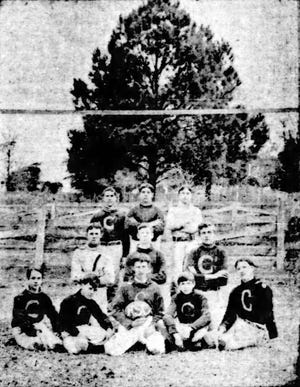 1901 St. Landry High School football team, Opelousas, LA.  Left to right – Back row:  Clay Miller. Jack Domengeau. Jack Guidry (Captain); Middle row:  Seth Young. Leonard Isacks. Fulton Young; Front row: I. Littell. Morgan F LeRoy. J. Cottingham. W. Gayle, (Principal's son) and J Boudreau.