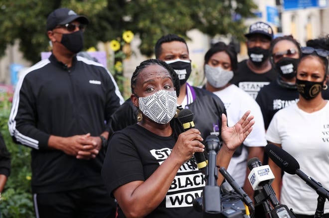 State Rep. Attica Scott spoke during a press conference held by the Kentucky Alliance Against Racist and Political Repression at Jefferson Square Park on Aug. 16, 2020 to announce a bill that would extend Breonna's Law statewide by banning no-knock warrants.