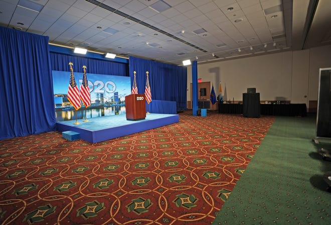 The stage is set as final preparations were taking place for the Democratic National Convention at the Wisconsin Center.