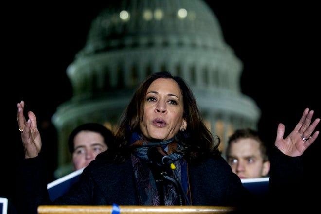 Sen. Kamala Harris, D-Calif., speaks during a rally in support of the Deferred Action for Childhood Arrivals and to avoid the government shutdown on Capitol Hill in Washington in 2018.