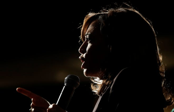 In this June 1, 2019, file photo, Sen. Kamala Harris speaks at an SEIU event before the 2019 California Democratic Party State Organizing Convention in San Francisco.