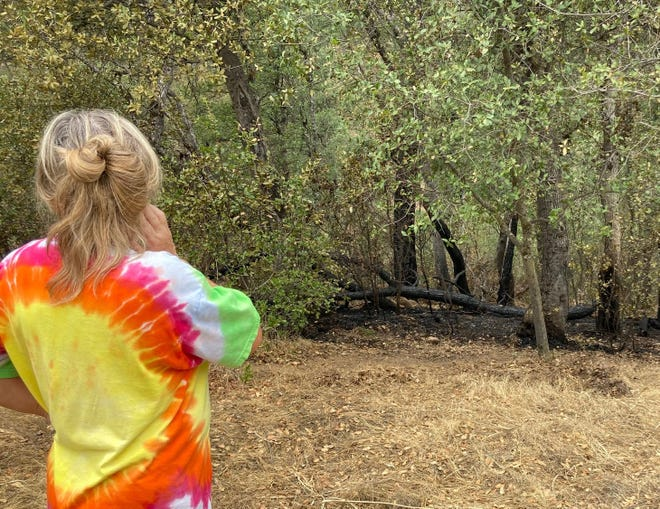 Tina Fitzgerald said lightning hit a tree behind her home in Happy Valley, sparking a small fire Sunday.