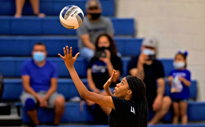 Quimani Hairston prepAres to deliver a serve for Lake View during a game against Colorado City on Saturday, Aug. 15, 2020.