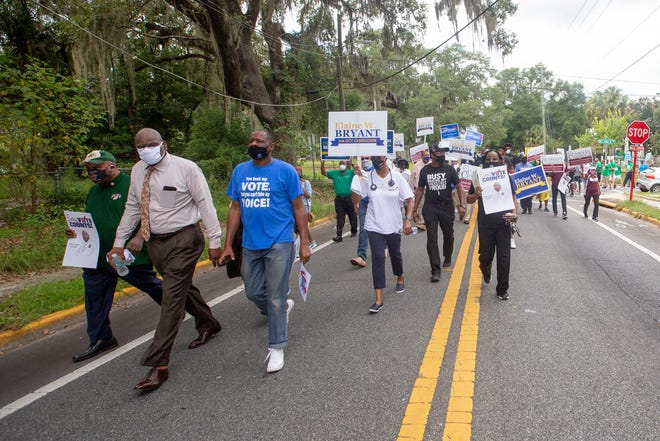 Lead by Rev. R.B. Holmes, Rev. Greg James and Urban League of Tallahassee President Curtis Taylor, several hundred people marched from Bethel Missionary Baptist Church to the Leon County Courthouse for the Souls to the Polls event Sunday, August 16, 2020.