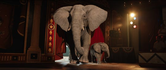 """Wise elephant Stella (left, voiced by Angelina Jolie) shows Ruby (Brooklynn Prince) the ropes in """"The One and Only Ivan."""""""