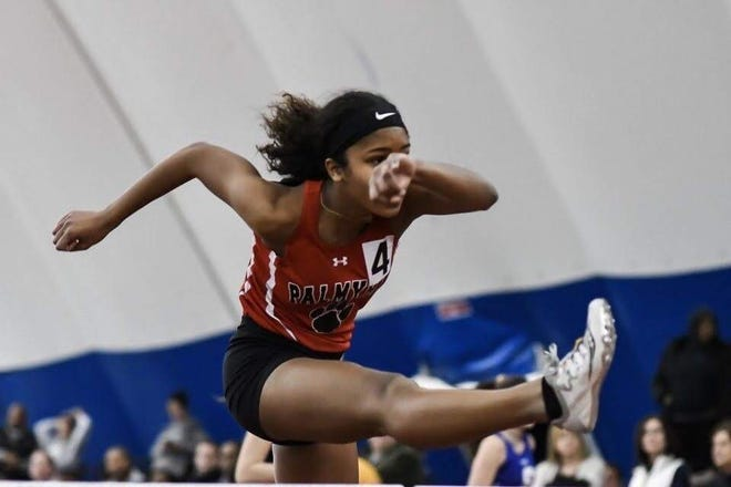 Palmyra graduate Kaya Robinson competes in the hurdles during the indoor track season last winter.  [CONTRIBUTED]