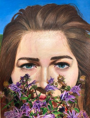 """Self-Portrait, Alaina Peccon's colored-pencil drawing, won fourth place in an art contest sponsored by U.S. Rep. Conor Lamb (PA-17)."