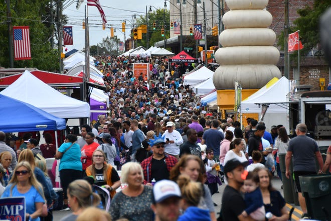 Looking south on Fayetteville Street, the crowd starts packing in at the 2019 Asheboro Fall Festival.