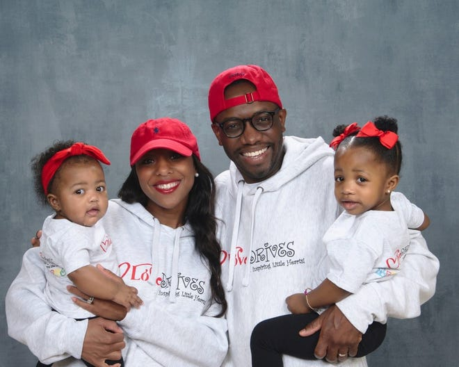 Owners of Love Drives Roderick and Melodie Morris with their kids Remi Isabella (left) and McKenzie (right).