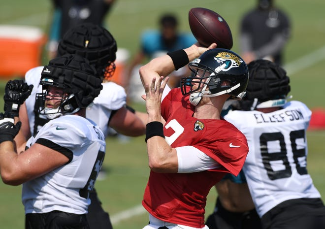 Jaguars quarterback Mike Glennon (2) tries to get off a pass under pressure during practice.