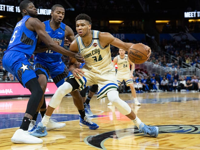 Milwaukee Bucks forward Giannis Antetokounmpo (34) has been an impossible matchup for the Magic this season. [WILLIE J. ALLEN JR./THE ASSOCIATED PRESS]