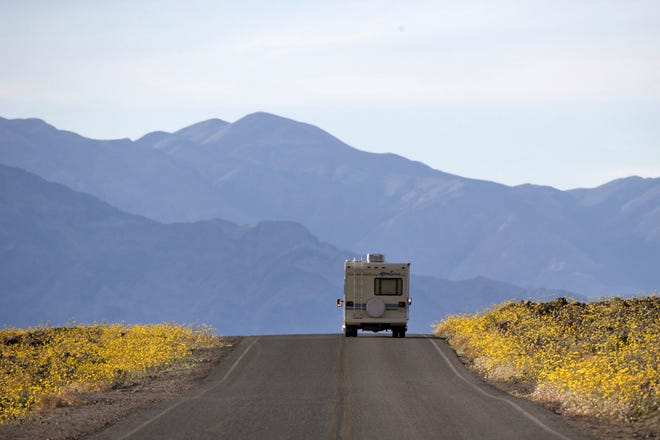 Wildflowers bloom as an RV travels along the road near Badwater Basin in Death Valley, Calif., in February 2016. Death Valley recorded a scorching 130 degrees (54.4 degrees Celsius) Sunday, which if the sensors and other conditions check out, would be the hottest Earth has been in more than 89 years and the third-warmest ever measured.