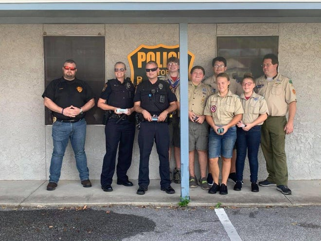 Scouts from Scouts BSA Troop 525, Scouts BSA Troop 25 and Cub Scout Pack 25 delivered camp cards to local first responders and hospital workers to show appreciation for their hard work during these unprecedented times.