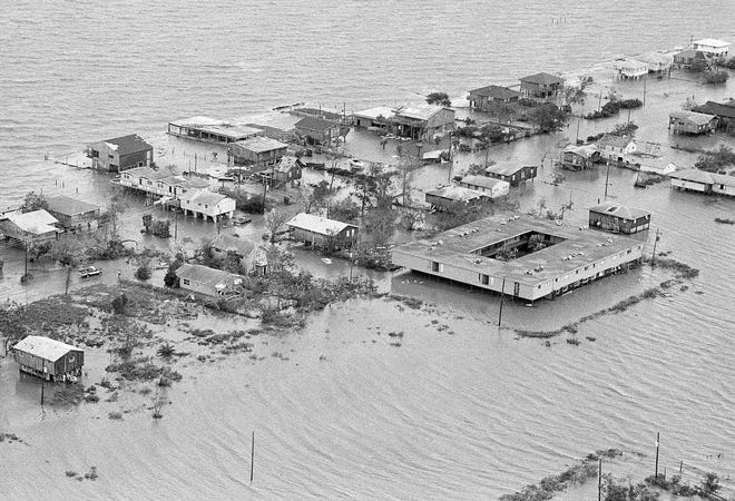 Sail boats as they were piled up at the Houston Yacht Club on Aug. 18, 1983, after Hurricane Alicia hit the Galveston, Texas, area. The storm caused $930 million in damage, and 27 people died. [THE ASSOCIATED PRESS]