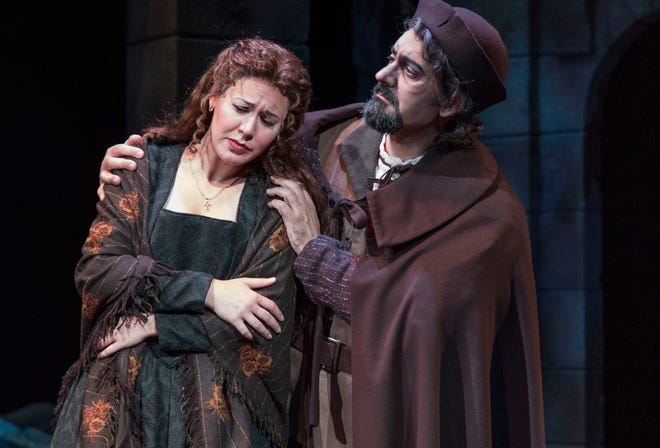 "Hanna Brammer and Marco Nistico in a scene from Sarasota Opera's production of ""Rigoletto."""