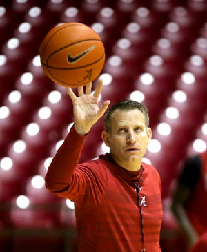 Alabama Head Coach Nate Oats catches a ball tossed to him during practice for the Alabama men's basketball team Wednesday, Oct. 16, 2019. [Staff Photo/Gary Cosby Jr.]