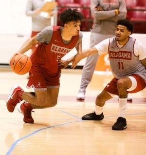 Alabama guard Jaden Shackelford (5) drives the ball against Alabama guard Beetle Bolden practice for the Alabama men's basketball team Wednesday, Oct. 16, 2019. [Staff Photo/Gary Cosby Jr.]