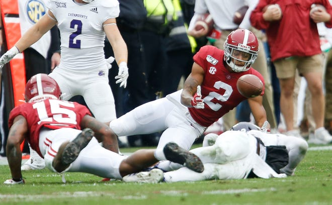 Alabama defensive back Patrick Surtain II (2) recovers a fumble during the first half of Alabama's final home game of the year against Western Carolina Saturday, Nov. 23, 2019, in Bryant-Denny Stadium. [Staff Photo/Gary Cosby Jr.]