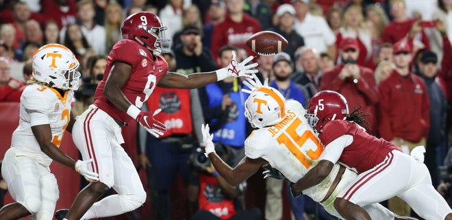 Alabama defensive back Jordan Battle (9) and Alabama defensive back Shyheim Carter (5) break up a pass in the end zone intended for Tennessee wide receiver Jauan Jennings (15) during the Crimson Tide's 35-13 victory in Bryant-Denny Stadium Saturday, Oct. 19, 2019. [Staff Photo/Gary Cosby Jr.]