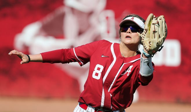 KB Sides makes a play on the ball in right field as the Crimson Tide rebounded to take the second game of the weekend series with Arkansas Saturday, March 7, 2020. [Staff Photo/Gary Cosby Jr.]