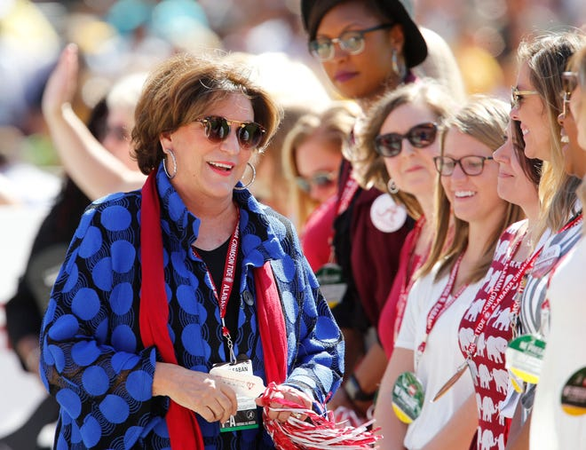 Terry Saban and the Tuscaloosa City and County school teachers honored by the Nick's Kids Foundation are presented to the Bryant-Denny Stadium crowd before Alabama's 49-7 victory over Southern Miss on Sept. 21, 2019.