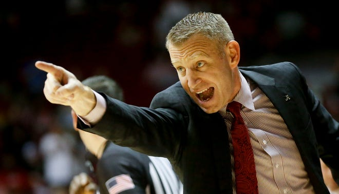 Alabama Head Coach Nate Oats yells instructions to hie team as they play Penn during the first half of Alabama's season opening game with Penn and Coach Nate Oats' first game at the helm of the Tide basketball program Tuesday, Nov. 5, 2019. [Staff Photo/Gary Cosby Jr.]