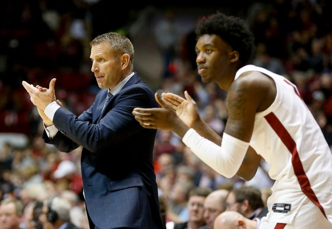 Alabama Head Coach Nate Oats applauds his team's effort as they play Mississippi State in Coleman Coliseum Wednesday, Jan. 8, 2019 in the SEC home opener for the Crimson Tide. [Staff Photo/Gary Cosby Jr.]