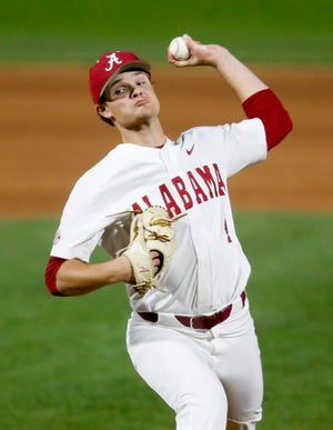 Alabama pitcher Connor Prielipp (4) delivers a pitch as the Crimson Tide opened a series with Lipscomb Friday, March 6, 2020. [Staff Photo/Gary Cosby Jr.]