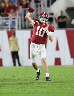 Alabama quarterback Mac Jones (10) throws against Arkansas in Bryant-Denny Stadium Saturday, Oct. 26, 2019. [Staff Photo/Gary Cosby Jr.]