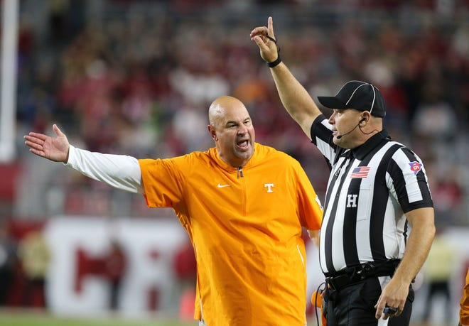 Tennessee Head Coach Jeremy Pruitt yells at an official after a call that went against Tennessee during the Crimson Tide's 35-13 victory in Bryant-Denny Stadium Saturday, Oct. 19, 2019. [Staff Photo/Gary Cosby Jr.]