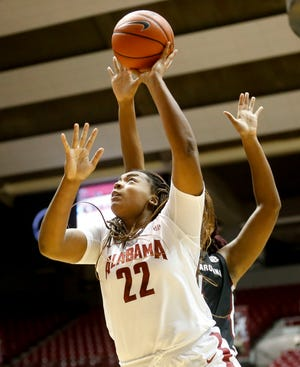 Alabama forward Ariyah Copeland (22) gets a shot under the basket as the Crimson Tide hosted the Gamecocks Sunday Jan. 5, 2020 in Coleman Coliseum. [Staff Photo/Gary Cosby Jr.]