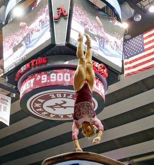 Lexi Graber vaults as Alabama gymnasts defeated Kentucky Friday, Feb. 28, 2020, in Coleman Coliseum. [Staff Photo/Gary Cosby Jr.]
