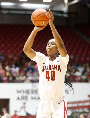 Alabama forward Jasmine Walker (40) shoots a three point shot during the annual Fifth Grade Day hosted by the Alabama women's basketball team as they played Bethune-Cookman Monday, Dec. 17, 2019. [Staff Photo/Gary Cosby Jr.]