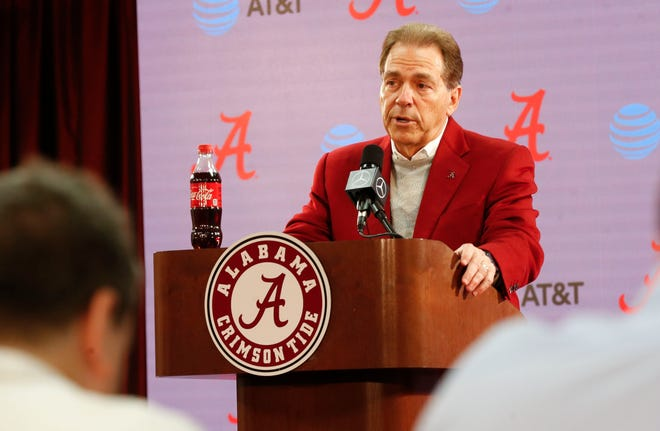 Alabama Head Coach Nick Saban spoke in the Naylor Stone Media Suite about the 2020 signing class Wednesday, Feb. 5, 2020. [Staff Photo/Gary Cosby Jr.]