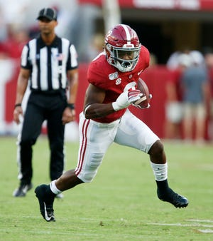 Alabama running back Keilan Robinson (2) breaks into the open field while running the ball during Alabama's 59-31 victory over Ole Miss Saturday, Sept. 28, 2019. [Staff Photo/Gary Cosby Jr.]
