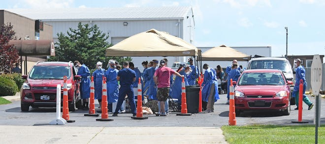 The Crawford County Public Health entrance was turned into a COVID-19 testing site on Aug. 17.
