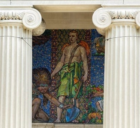 A mosaic frieze at the Johnson Library depicts Native and indigenous people as submissive to white. Rutgers University, which owns the Camden building, is working with the community and the Institute for Development of Education in the Arts (IDEA) center to come up with ways to address the imagery and provide context.