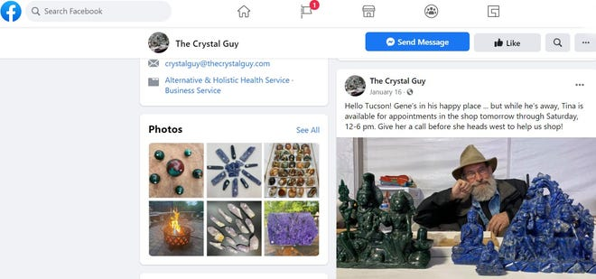 """Facebook page for """"The Crystal Guy,"""" a Blue Ash business owned and operated by Gene Jackson, who champions the healing properties of crystals. Jackson has been indicted on charges he sexually assaulted four women who went there for massages or healing sessions."""